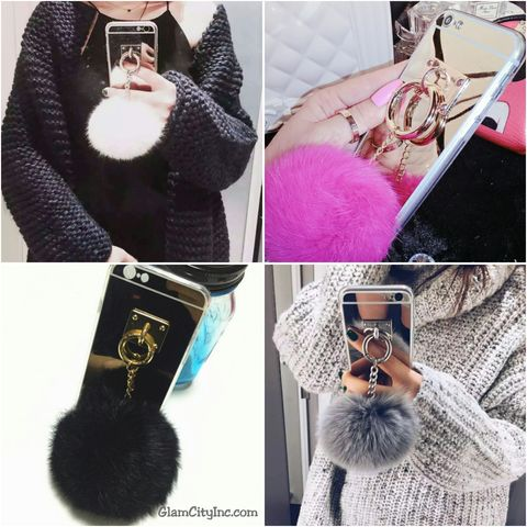 Fluffy,Pom,Mirror,Case