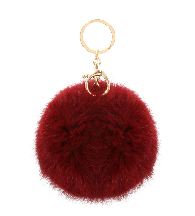 Fall Luxe Pom Keychain - Burgundy - product images  of