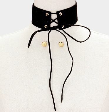 Glam Lace Up Choker  - product images  of