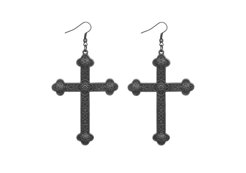 Vintage Silver Gothic Cross Earrings - product image