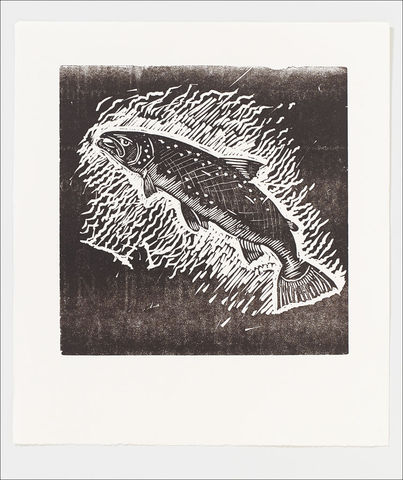 SALMON,LETTERPRESS,PRINT,FROM,EDWYN,COLLINS,LINOCUT,Salmon Print