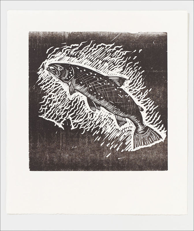 Set of two;  Salmon and Golden Eagle Letterpress Prints - product image