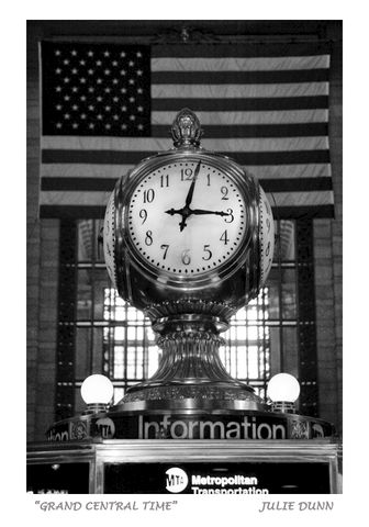 Grand,Central,Time,Grand Central Station, Clock, subway station, New York City, NYC, Manhattan, black and white photography, B & W photos, american flag
