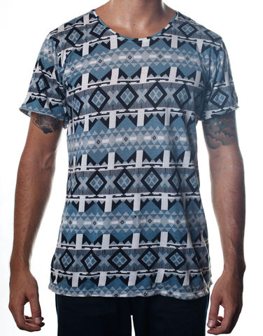 Nemis,Aztec,Tee,Blue,Clothing,Tshirt,geometric,aztec,native,tribal,bold,graphic,print,fashion,mens,women,streetwear,retro,urban,cotton,supima,40s