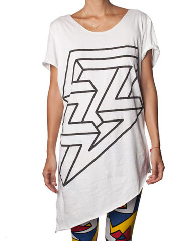 Nemis,Asymmetric,Lightning,Girls,dress, tshirt, top, asymmetric, print, lightning, fashion