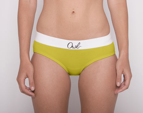 COLORFUL,-2ND-,CHARTREUSE,underwear, woman, ecologic, Sustainable, Organic , Undyed,  Cotton , Owl underwear, ropa interior, mujer, organico, ecologico, organica, ecologica, verde, green, chartreuse