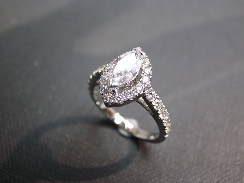 Marquise Diamond Engagement Ring - product image