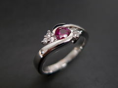 Diamonds Ring with Ruby - product images 1 of 7