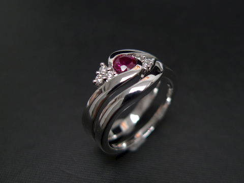 Set,of,TWO,Diamond,Ruby,Engagement,Ring,and,Wedding,Band,Jewelry  Ring  bride  anniversary  classic ring  wedding diamond ring  engagement ring  diamond ring three stone ring  diamond wedding ring  engagement diamond  ruby  ruby diamond ring  diamond ruby ring red