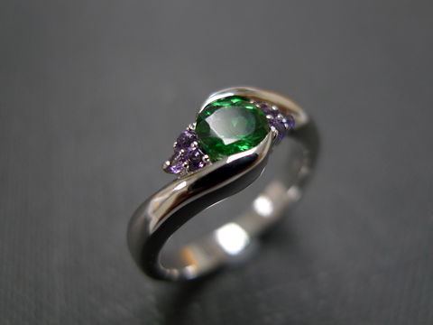Green,Garnet,and,Amethyst,Ring,Jewelry  Ring  engagement ring  anniversary gift  round brilliant cut  custom made jewelry  classic ring wedding ring  green stone ring  white sapphire ring  gold ring  green garnet ring  amethyst ring  purple ring green