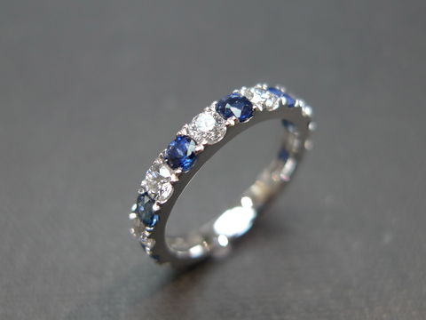 Diamond,and,Blue,Sapphire,Eternity,Ring,Weddings, Jewelry, Ring, wedding band, engagement ring, wedding gift, rose gold, natural sapphire, blue sapphire ring, diamond ring, diamond wedding ring