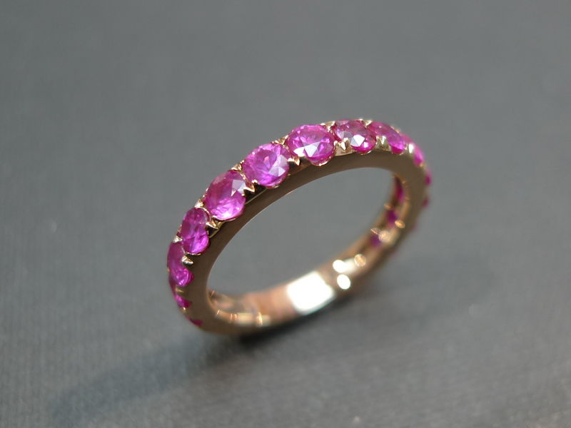 Pink Sapphire Wedding Band - product image