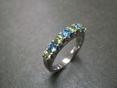 Blue Topaz and Peridot Wedding Ring - product images 2 of 7