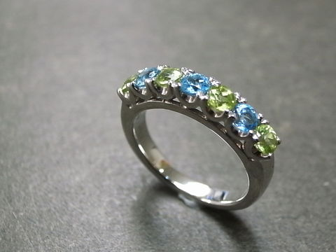Blue,Topaz,and,Peridot,Wedding,Ring,Jewelry, Ring, Band, wedding ring, engagement ring, blue topaz ring, peridot ring, blue, topaz wedding ring, blue topaz , peridot