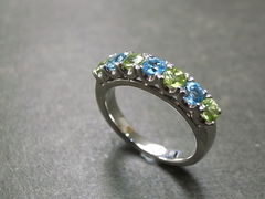 Blue Topaz and Peridot Wedding Ring - product images 1 of 7