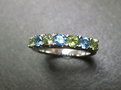 Blue Topaz and Peridot Wedding Ring - product images 3 of 7
