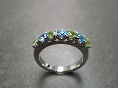 Blue Topaz and Peridot Wedding Ring - product images 4 of 7