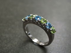 Blue Topaz and Peridot Wedding Ring - product images 5 of 7
