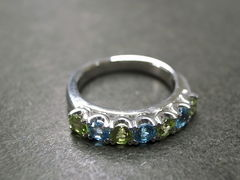 Blue Topaz and Peridot Wedding Ring - product images 6 of 7