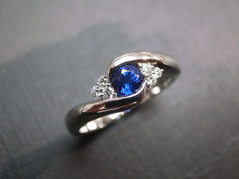 Blue,Sapphire,Diamond,Ring,Weddings, Jewelry, Ring, bride, anniversary, white gold, classic ring, wedding diamond ring, engagement ring, diamond ring, three stone ring, diamond wedding ring, engagement diamond, blue sapphire ring, blue, blue sapphire, diamond, 14k white gold