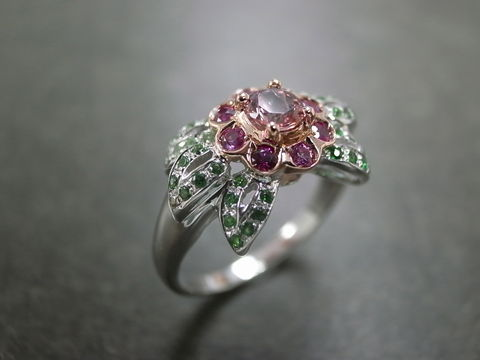 Flower,Gemstone,Ring,jewelry, diamond, diamond ring, amethyst ring, wedding ring, engagement ring, diamond wedding ring, 14k white gold, 14k rose gold, 14k yellow gold, 18k white gold, 18k yellow gold, 18k rose gold, platinum, 925 sterling silver