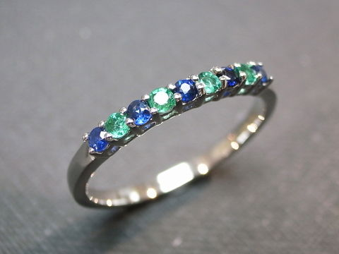 Blue,Sapphire,and,Emerald,Wedding,Ring,Jewelry, wedding band, engagement ring, personalized jewelry, classic ring, green gemstone ring, blue gemstone ring, emerald, blue sapphire ring