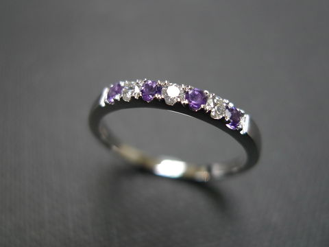 Diamond,and,Amethyst,Ring,Jewelry,gold,stone,wedding_band,wedding_ring,engagement_ring,anniversary_gift,eternity_band,stackable_ring,custom_made_jewelry,amethyst_purple,diamond_ring,classic_ring,amethyst_ring,14k white gold,amethyst,diamond