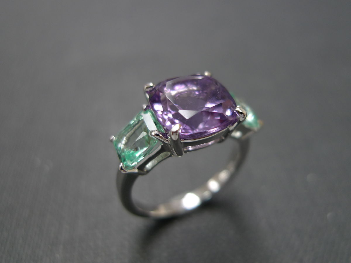 amethyst engagement ring with green quartz - hn jewelry