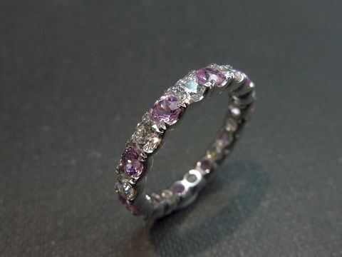 Diamond,&,Pink,Sapphire,Eternity,Ring,Jewelry,wedding_band,eternity_band,bride,anniversary,prong,handmade,bridesmaid,custom_made_ring,classic_wedding_ring,wedding_diamond_ring,engagement_ring,wedding_ring,diamond_wedding_ring,diamond,platinum,pink sapphire