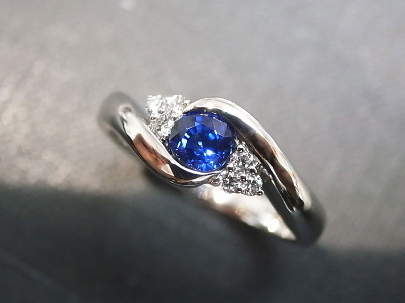 Charmant Set Of TWO Diamond Blue Sapphire Engagement Ring And Diamond Wedding Band    Product Images Of