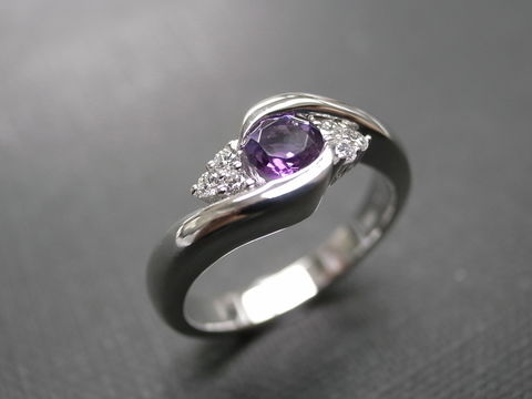 Diamond,&,Amethyst,Ring,Jewelry  Ring  purple  engagement ring  round brilliant cut  custom made jewelry  amethyst ring wedding ring  wedding band  amethyst band  engagement band  amethyst wedding  diamond amethyst diamond wedding ring  wedding diamond ring