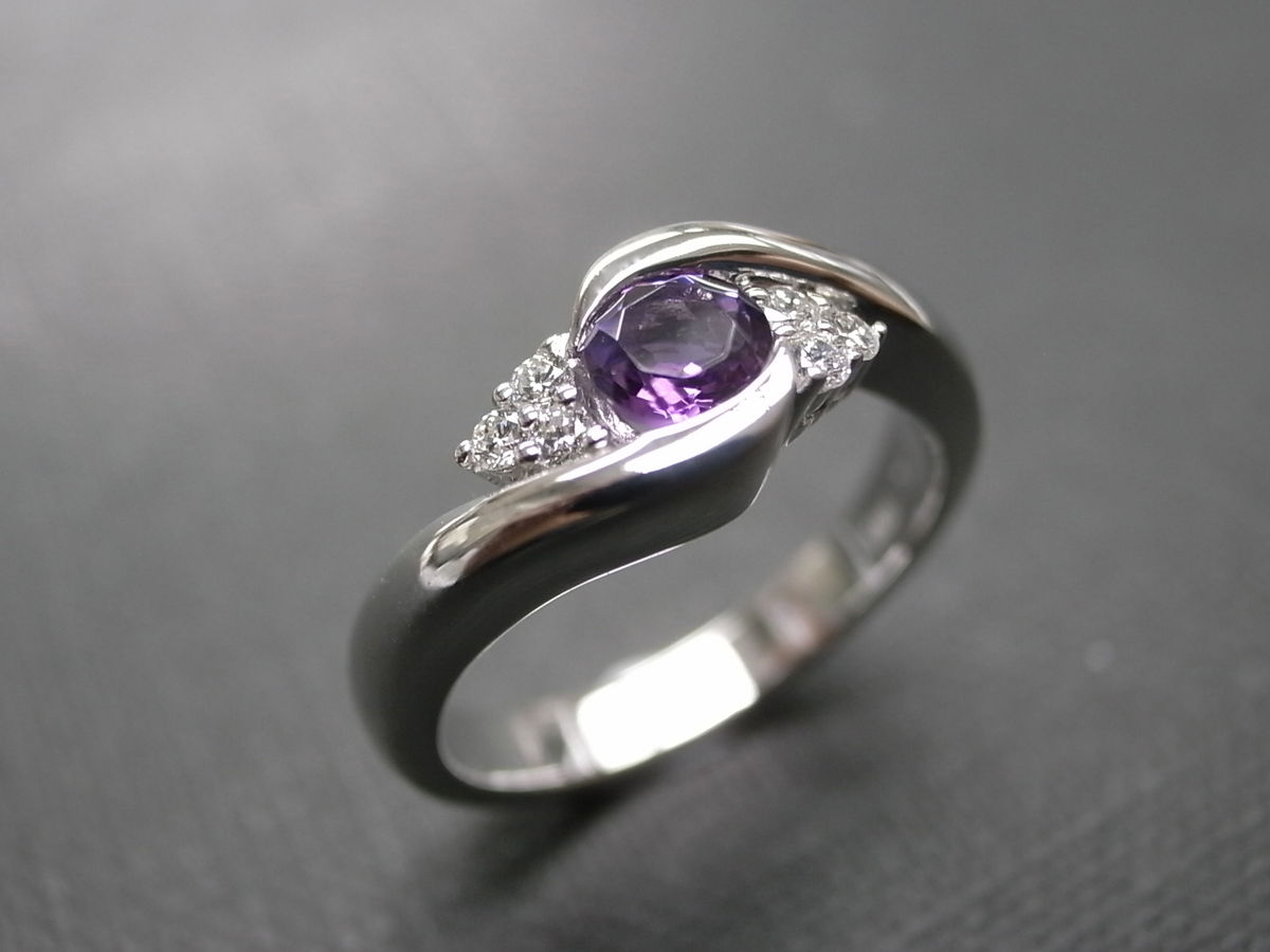 diamond & amethyst ring - hn jewelry