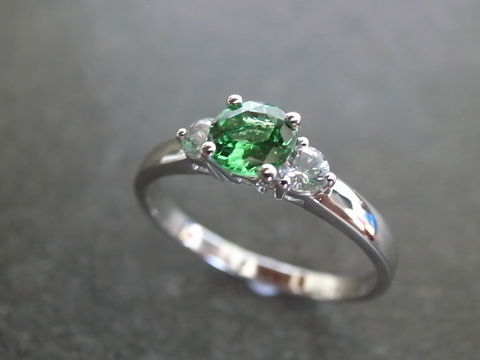 Green,Garnet,&,White,Sapphire,Ring,Jewelry  Ring  anniversary  prong set  Classic ring  Three stones ring  three stone ring engagement ring  white sapphire ring  wedding ring  wedding  personalize ring  sapphire ring custom made ring  green sapphire ring