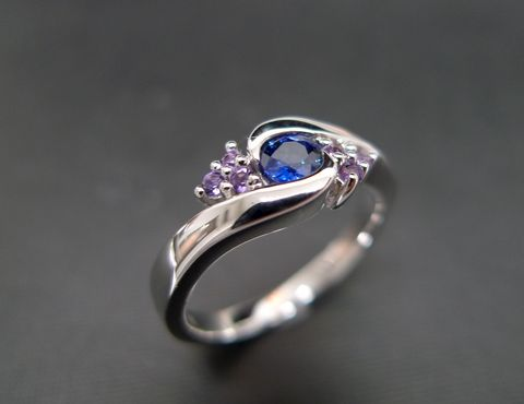 Blue,Sapphire,and,Amethyst,Ring,Jewelry  Ring  engagement ring  anniversary gift  round brilliant cut  custom made jewelry  classic ring wedding ring  gold ring  natural sapphire  blue sapphire ring  amethyst ring  amethyst  purple gemstone blue gemstone