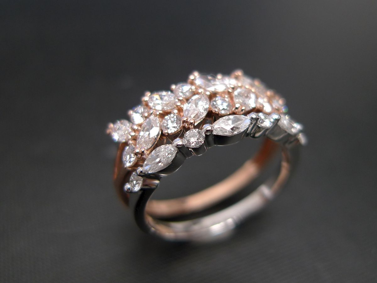 Set of TWO Marquise Diamond Ring HN Jewelry