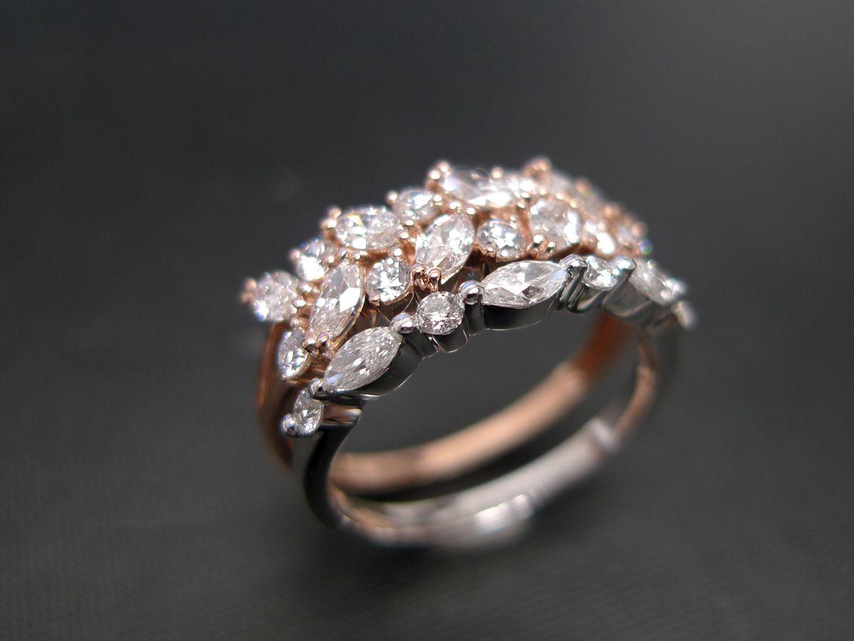 setoftwomarquisediamondringjewelry ring bride anniversary - Marquise Diamond Wedding Ring