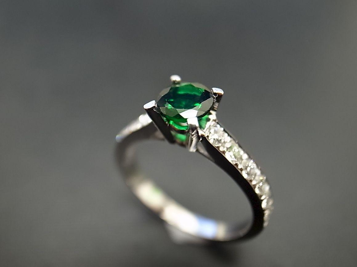 Green garnet diamond ring 1290 14k white gold 1290 14k yellow gold