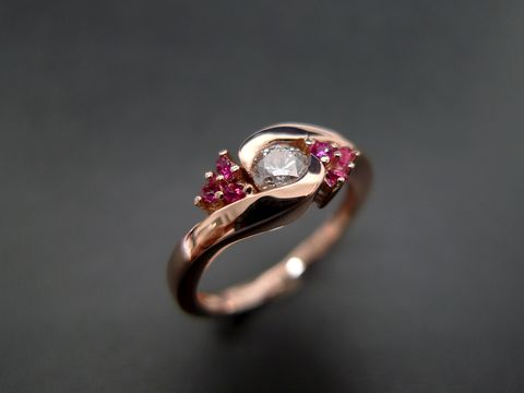 Diamond,Wedding,Ring,with,Ruby,Jewelry  Ring  diamond wedding band  engagement ring  anniversary gift  custom made jewelry classic ring  wedding diamond ring  diamond wedding ring  diamond ring  engagement diamond  red ruby ring  ruby diamond ring  rose gold