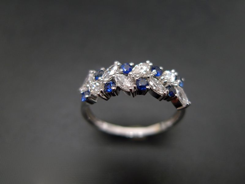 Marquise Diamond and Blue Sapphire Ring - product images  of
