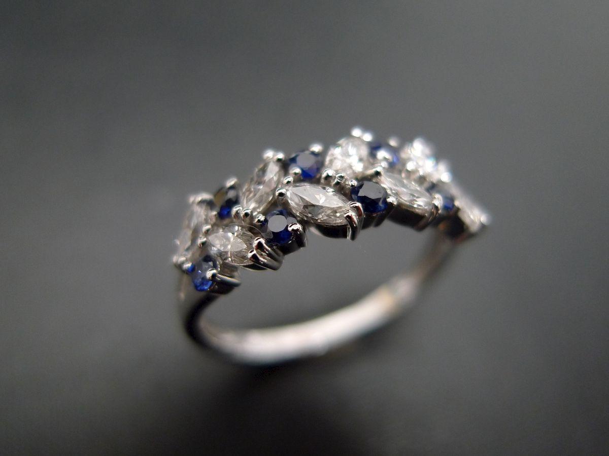 marquisediamondandbluesapphireringjewelry ring engagement ring - Marquise Diamond Wedding Ring