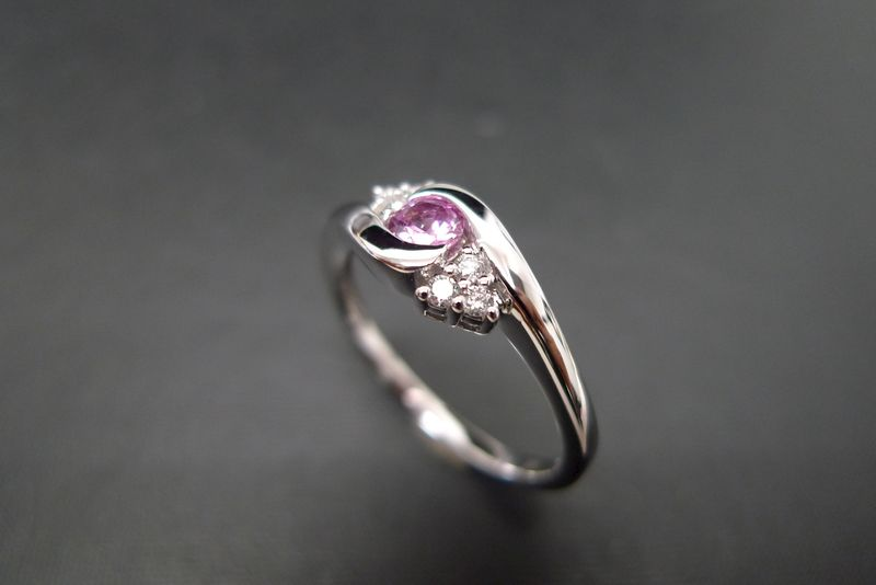 Diamonds Wedding Ring with Pink Sapphire  - product images  of