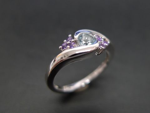 Aquamarine,and,Amethyst,Ring,Jewelry  Ring  engagement ring  Aquamarine anniversary gift  round brilliant cut  custom made jewelry  classic ring wedding ring  green stone ring  white sapphire ring  gold ring  green garnet ring  amethyst ring  purple ring green