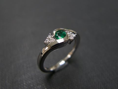 Diamond,&,Emerald,Ring,Weddings, Jewelry, Ring, bride, anniversary, white gold, classic ring, wedding diamond ring, engagement ring, diamond ring, three stone ring, diamond wedding ring, engagement diamond, blue sapphire ring, blue, blue sapphire, diamond, 14k white gold