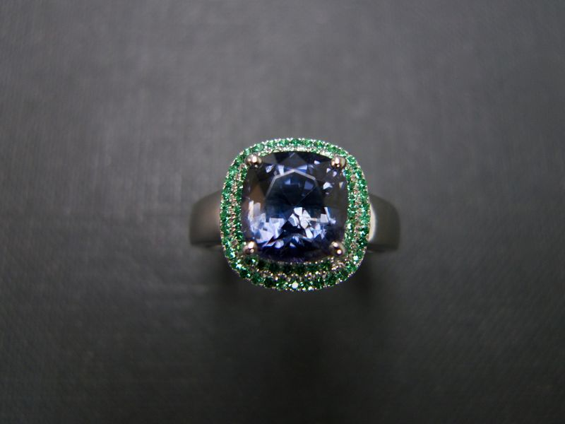 Emerald and Blue Topaz Ring - product image