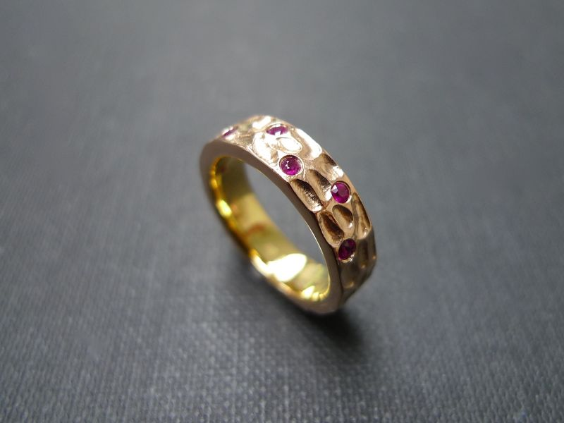 Ruby wedding hammered ring hn jewelry junglespirit Image collections