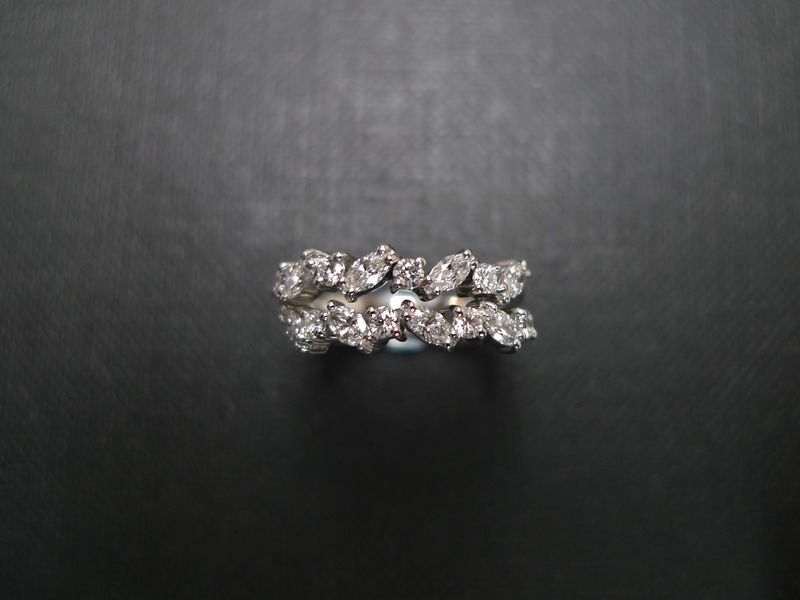 Two Marquise Diamond Wedding Rings HN Jewelry