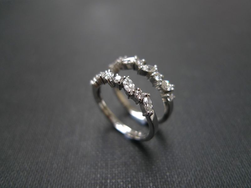 two marquise diamond wedding rings product images of