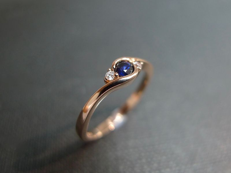 Set of TWO Diamond Blue Sapphire Engagement Ring and Diamond Wedding Band - product image