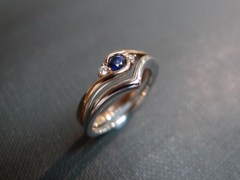 Set of TWO Diamond Blue Sapphire Engagement Ring and Diamond