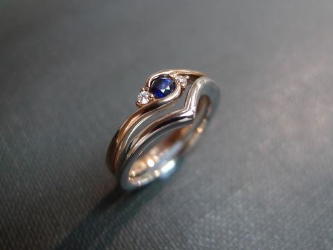 Set,of,TWO,Diamond,Blue,Sapphire,Engagement,Ring,and,Wedding,Band,Jewelry  Ring  bride  anniversary  white gold  classic ring  wedding diamond ring  engagement ring diamond ring  three stone ring  diamond wedding ring  engagement diamond  blue sapphire ring  blue blue sapphire